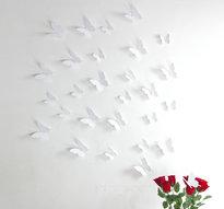 3D Fjärilsdekor -Vit