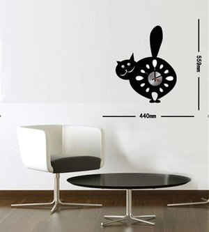 Klocka med vinyldekor -Katt