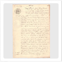 """Transfer picture for textiles, """"document from 1861"""""""