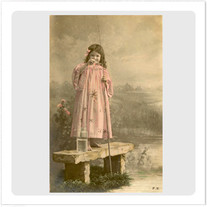 """Transfer picture for textiles, """"girl fishing"""""""
