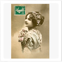 """Transfer picture for textiles, """"woman and stamp"""""""