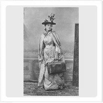 """Transfer picture for textiles, """"woman with bag"""""""