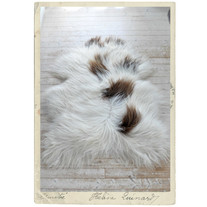 Ekologiskt, isländskt fårskinn, fläckigt vitt & brunt