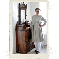 Long linen coat, Talia B., natural beige