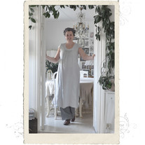 Long linen dress, Talia B., grey-blue