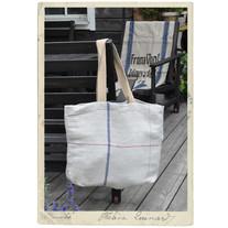 Linenbag, antique grainsack fabric, long handles