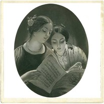 """Transfer picture for textiles, """"singing women"""""""