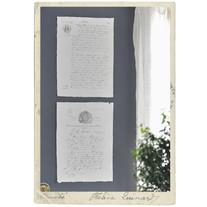 Set om 2 stora handgjora papper med dokument, A3