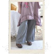 Linen trousers, Talia B., grey-white stripes long