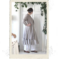 Long linen coat, Talia B., taupe