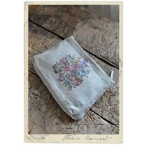 Make up bag, linen, flower decor French design