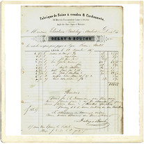 """Transfer picture for textiles, document from 1867, """"Delay"""""""
