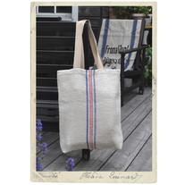 Linenbag, antique grainsack fabric, long handles, blue and red