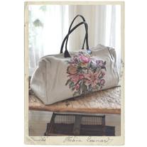 Stor fodrad linneväska, blommönster, läderhandtag fr Coquecigrues