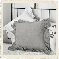 Pillowcase with valance, natural linen, ECO