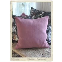 Kuddöverdrag i tvättad bomullstwill, ljust puderrosa, 50 x 50 cm