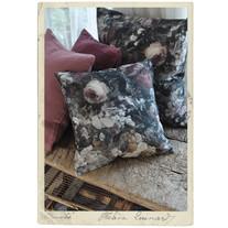 Pillow case, upholstry fabric w flower print, 45 x 45 cm