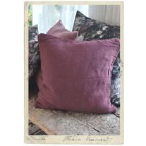 Kuddöverdrag i tvättad bomullstwill, mörkrosa, 50 x 50 cm