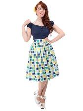 Collectif Jasmine Paint skirt Blue/yellow