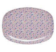 RICE rektangulär melamintallrik Pink Cascading Flower Print