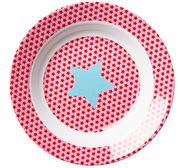 RICE djup barntallrik rosa Star Print i melamin