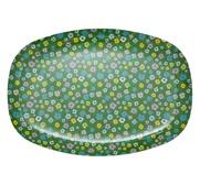 RICE rektangulär melamintallrik Green Flower Print