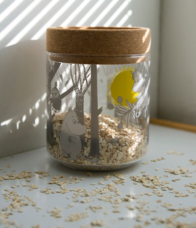 Moomin Forest glass lantern/jar w cork stand/lid