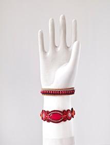 Armband rött/silver
