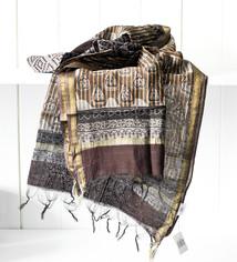 Sjal/sarong bomull/silk brungr