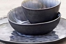 Soup/pasta plate grey crackel
