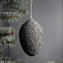 Oval grey glitter ornament