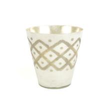 Vas/lykta glas vit/guld 25 cm