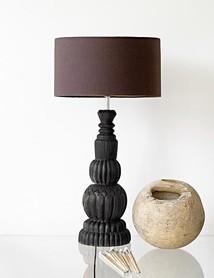 Lampfot trä snidad svart 60 cm