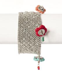 Armband metall textil tofs