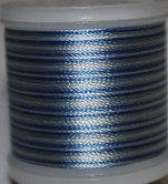 Flerfärgad tråd, Blå i olika toner mot vitt Col.2016