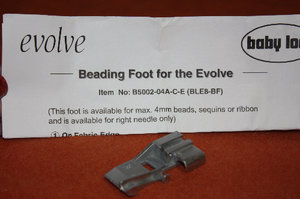 Babylock Evolve B Pearl , bead, sequensic foot