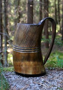 Horn Mug, Carved