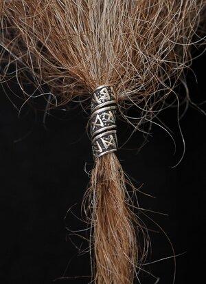 Beard/Hair Bead, Silver with Runes
