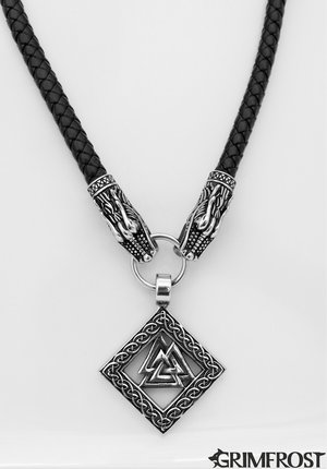 Dragon Head Valknut, Leather & Steel