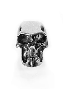 Beard Bead, Sterling Silver Skull