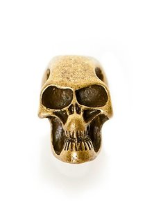 Beard Bead, Solid Bronze Skull
