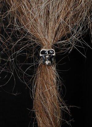Beard Bead, Shiny Silver Skull