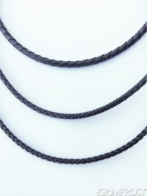 Braided Leather Cord, Black