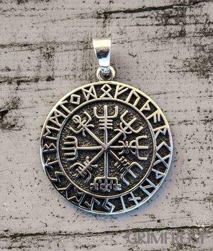 Vegvisir Amulett, Silber