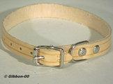 Halsband läder Alac, natur, 22 mm.