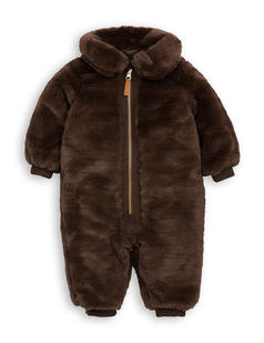 MINI RODINI FAUX FUR OVERALL BROWN