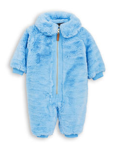 MINI RODINI FAUX FUR OVERALL LIGHT BLUE