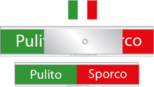 Signs for dishwasher. Pulito Sporco