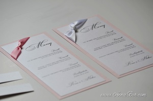 Menykort Rosa till Bröllopsdukning