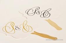 Solfjäder med Monogram. Bröllopsskyltar till Brudnäbben
